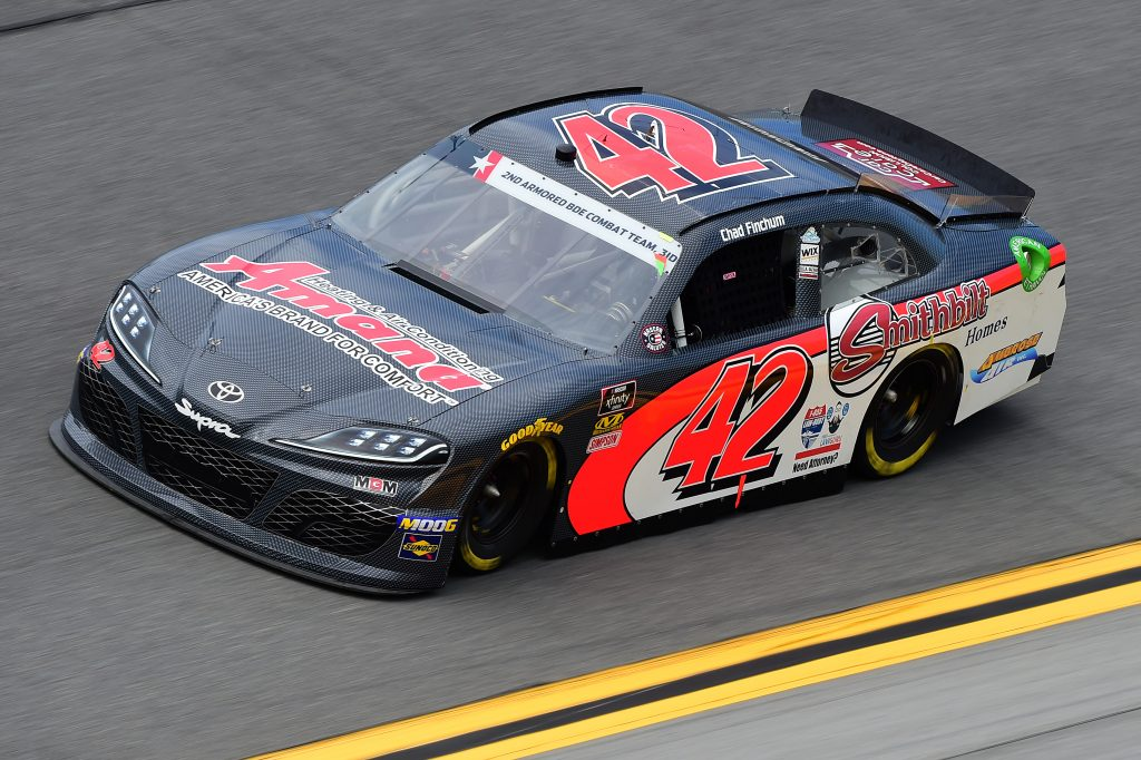 DAYTONA BEACH, FLORIDA - JULY 05: Chad Finchum, driver of the #42 Amana Heating & Air Conditioning Toyota, qualifies for the NASCAR Xfinity Series Circle K Firecracker 250 Powered by Coca-Cola at Daytona International Speedway on July 05, 2019 in Daytona Beach, Florida. (Photo by Jared C. Tilton/Getty Images) | Getty Images