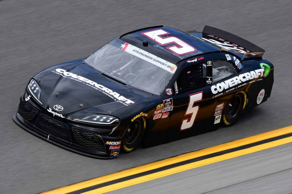 DAYTONA BEACH, FLORIDA - JULY 05: Matt Mills, driver of the #5 J.F. Electric Toyota, qualifies for the NASCAR Xfinity Series Circle K Firecracker 250 Powered by Coca-Cola at Daytona International Speedway on July 05, 2019 in Daytona Beach, Florida. (Photo by Jared C. Tilton/Getty Images) | Getty Images