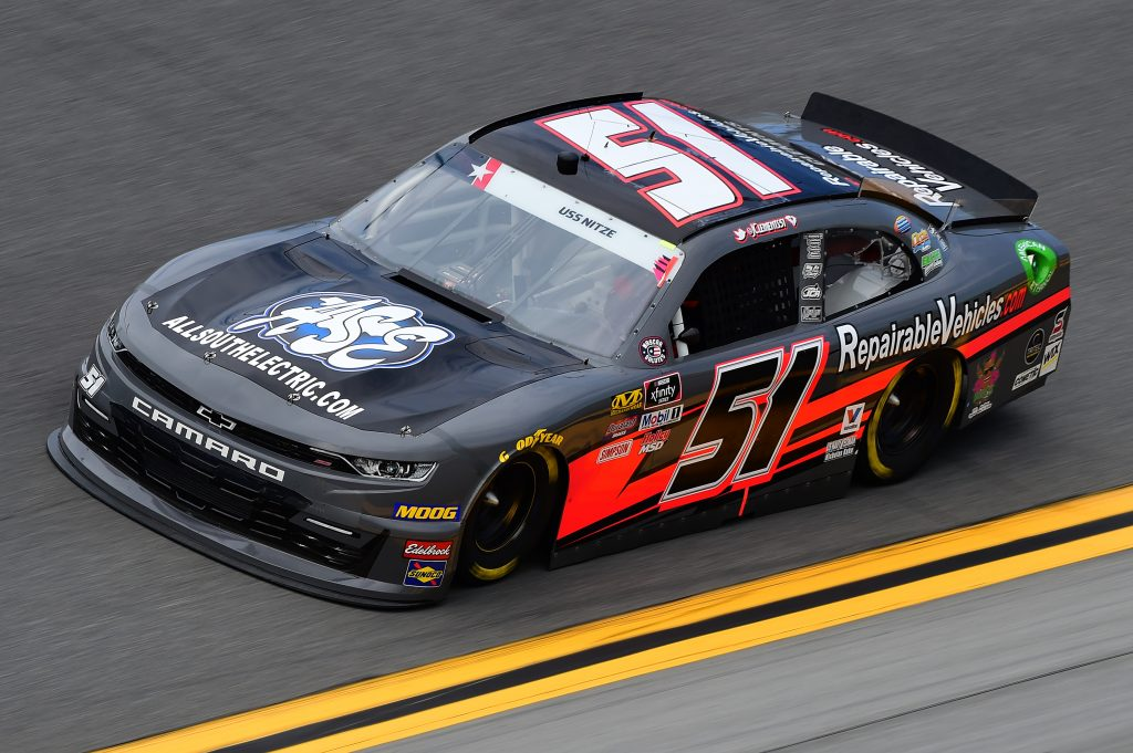 DAYTONA BEACH, FLORIDA - JULY 05: Jeremy Clements, driver of the #51 RepairableVehicles.com Chevrolet, qualifies for the NASCAR Xfinity Series Circle K Firecracker 250 Powered by Coca-Cola at Daytona International Speedway on July 05, 2019 in Daytona Beach, Florida. (Photo by Jared C. Tilton/Getty Images) | Getty Images