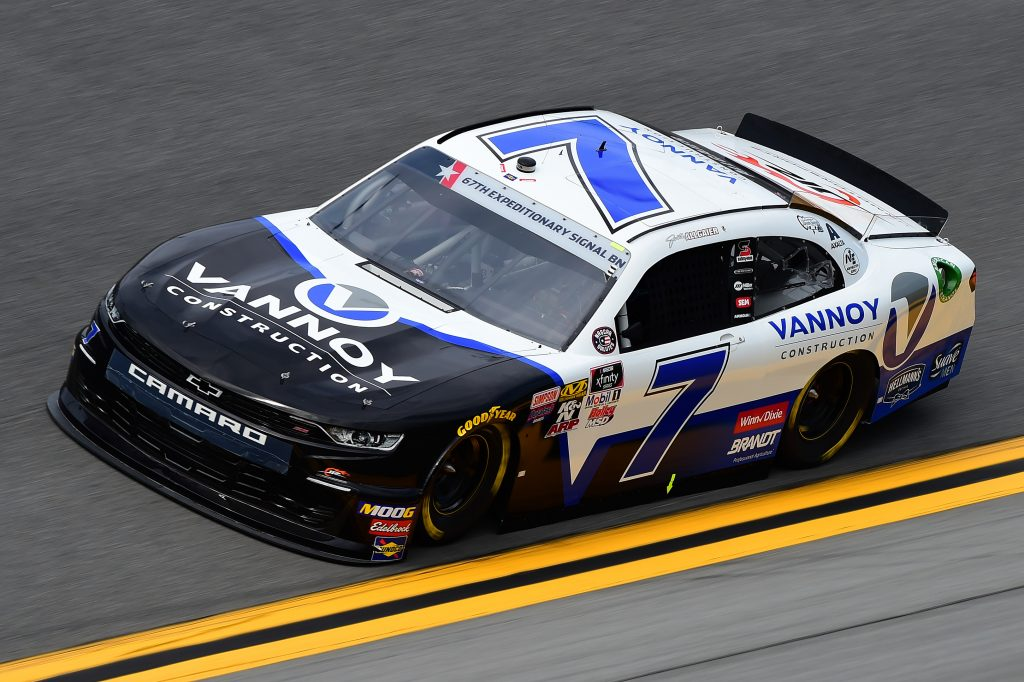 DAYTONA BEACH, FLORIDA - JULY 05: Justin Allgaier, driver of the #7 Vannoy Construction Chevrolet, qualifies for the NASCAR Xfinity Series Circle K Firecracker 250 Powered by Coca-Cola at Daytona International Speedway on July 05, 2019 in Daytona Beach, Florida. (Photo by Jared C. Tilton/Getty Images) | Getty Images
