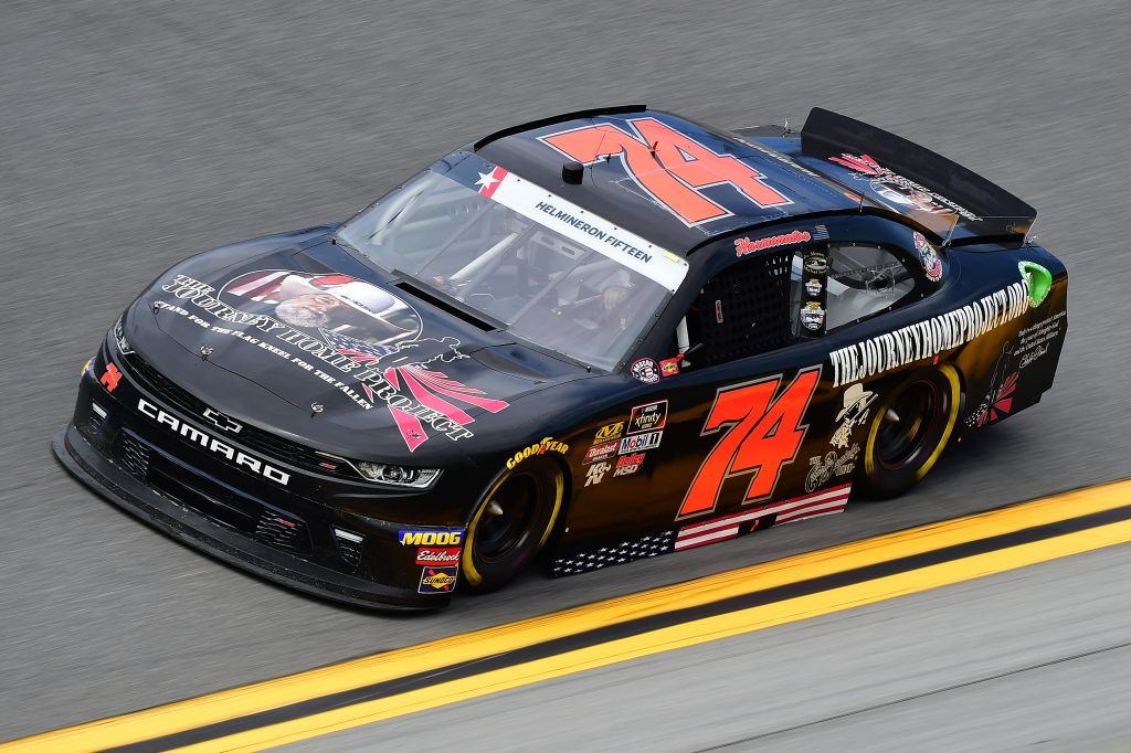 DAYTONA BEACH, FLORIDA - JULY 05: Mike Harmon, driver of the #74 TheJourneyHomeProject.org Chevrolet, qualifies for the NASCAR Xfinity Series Circle K Firecracker 250 Powered by Coca-Cola at Daytona International Speedway on July 05, 2019 in Daytona Beach, Florida. (Photo by Jared C. Tilton/Getty Images) | Getty Images