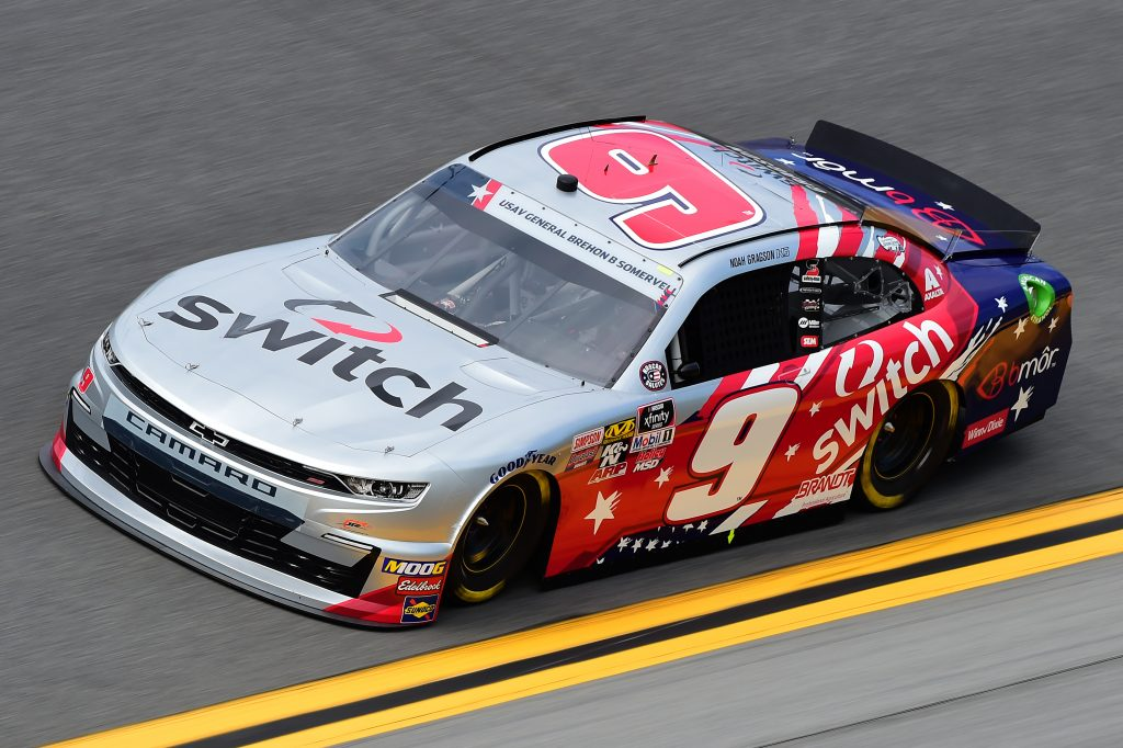 DAYTONA BEACH, FLORIDA - JULY 05: Noah Gragson, driver of the #9 Switch Chevrolet, qualifies for the NASCAR Xfinity Series Circle K Firecracker 250 Powered by Coca-Cola at Daytona International Speedway on July 05, 2019 in Daytona Beach, Florida. (Photo by Jared C. Tilton/Getty Images) | Getty Images