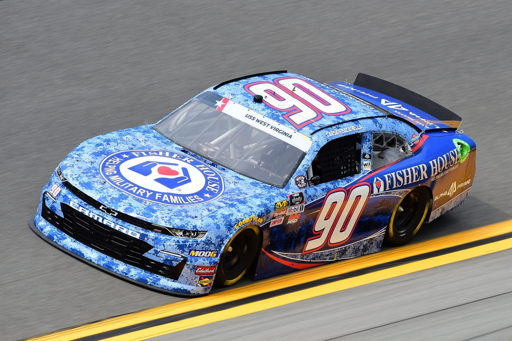 DAYTONA BEACH, FLORIDA - JULY 05: Caesar Bacarella, driver of the #90 Fisher House Foundation/Alpha Prime Chevrolet, qualifies for the NASCAR Xfinity Series Circle K Firecracker 250 Powered by Coca-Cola at Daytona International Speedway on July 05, 2019 in Daytona Beach, Florida. (Photo by Jared C. Tilton/Getty Images) | Getty Images