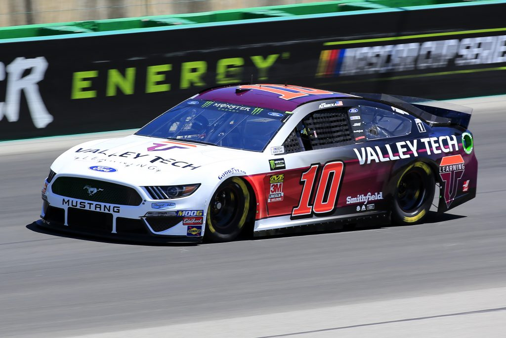 SPARTA, KENTUCKY - JULY 12: Aric Almirola, driver of the #10 Valley Tech Learning Ford, practices for the Monster Energy NASCAR Cup Series Quaker State 400 Presented by Walmart at Kentucky Speedway on July 12, 2019 in Sparta, Kentucky. (Photo by Daniel Shirey/Getty Images)