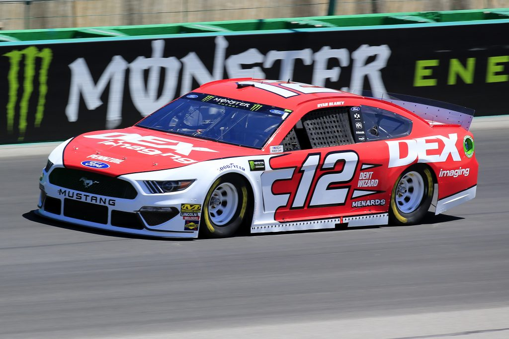 SPARTA, KENTUCKY - JULY 12: Ryan Blaney, driver of the #12 DEX Imaging Ford, practices for the Monster Energy NASCAR Cup Series Quaker State 400 Presented by Walmart at Kentucky Speedway on July 12, 2019 in Sparta, Kentucky. (Photo by Daniel Shirey/Getty Images)
