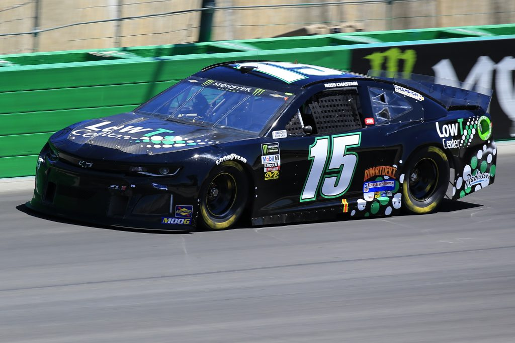 SPARTA, KENTUCKY - JULY 12: Ross Chastain, driver of the #15 Low T Center Chevrolet, practices for the Monster Energy NASCAR Cup Series Quaker State 400 Presented by Walmart at Kentucky Speedway on July 12, 2019 in Sparta, Kentucky. (Photo by Daniel Shirey/Getty Images)