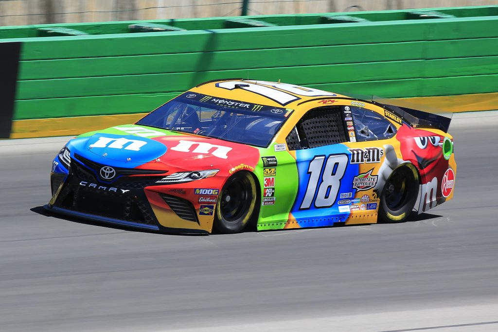 SPARTA, KENTUCKY - JULY 12: Kyle Busch, driver of the #18 M&M's Toyota Camry Toyota, practices for the Monster Energy NASCAR Cup Series Quaker State 400 Presented by Walmart at Kentucky Speedway on July 12, 2019 in Sparta, Kentucky. (Photo by Daniel Shirey/Getty Images)