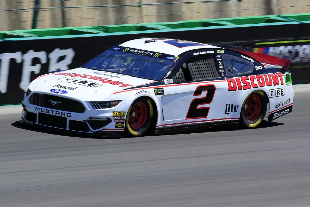 SPARTA, KENTUCKY - JULY 12: Brad Keselowski, driver of the #2 Discount Tire Ford, practices for the Monster Energy NASCAR Cup Series Quaker State 400 Presented by Walmart at Kentucky Speedway on July 12, 2019 in Sparta, Kentucky. (Photo by Daniel Shirey/Getty Images)
