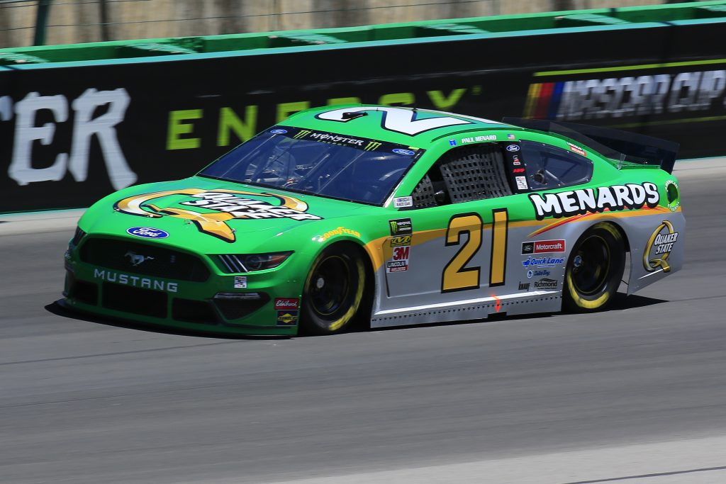 SPARTA, KENTUCKY - JULY 12: Paul Menard, driver of the #21 Menards/Quaker State Ford, practices for the Monster Energy NASCAR Cup Series Quaker State 400 Presented by Walmart at Kentucky Speedway on July 12, 2019 in Sparta, Kentucky. (Photo by Daniel Shirey/Getty Images)