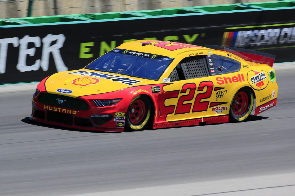 SPARTA, KENTUCKY - JULY 12: Joey Logano, driver of the #22 Shell Pennzoil Ford, practices for the Monster Energy NASCAR Cup Series Quaker State 400 Presented by Walmart at Kentucky Speedway on July 12, 2019 in Sparta, Kentucky. (Photo by Daniel Shirey/Getty Images)