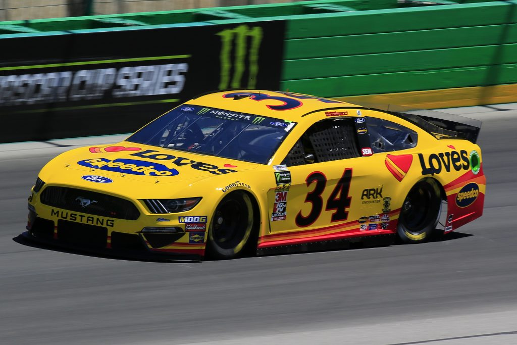 SPARTA, KENTUCKY - JULY 12: Michael McDowell, driver of the #34 Love's Travel Stops Ford, practices for the Monster Energy NASCAR Cup Series Quaker State 400 Presented by Walmart at Kentucky Speedway on July 12, 2019 in Sparta, Kentucky. (Photo by Daniel Shirey/Getty Images)