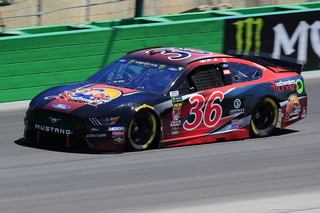 SPARTA, KENTUCKY - JULY 12: Matt Tifft, driver of the #36 Southwestern Trucking Ford, practices for the Monster Energy NASCAR Cup Series Quaker State 400 Presented by Walmart at Kentucky Speedway on July 12, 2019 in Sparta, Kentucky. (Photo by Daniel Shirey/Getty Images)