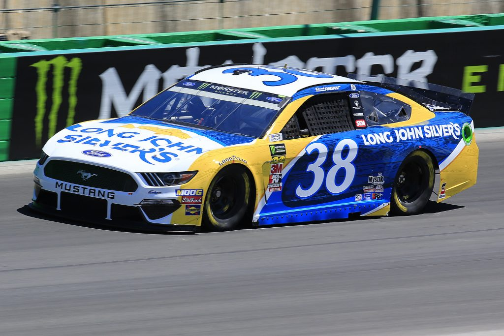 SPARTA, KENTUCKY - JULY 12: David Ragan, driver of the #38 Long John Silver's Ford, practices for the Monster Energy NASCAR Cup Series Quaker State 400 Presented by Walmart at Kentucky Speedway on July 12, 2019 in Sparta, Kentucky. (Photo by Daniel Shirey/Getty Images)