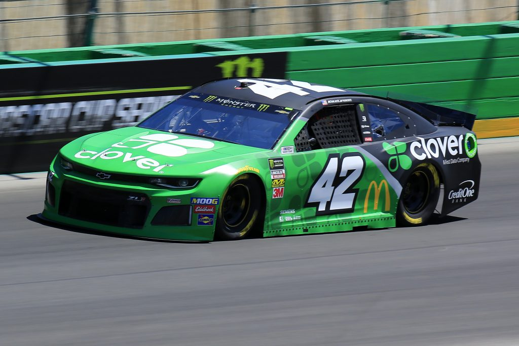 SPARTA, KENTUCKY - JULY 12: Kyle Larson, driver of the #42 Clover Chevrolet, practices for the Monster Energy NASCAR Cup Series Quaker State 400 Presented by Walmart at Kentucky Speedway on July 12, 2019 in Sparta, Kentucky. (Photo by Daniel Shirey/Getty Images)