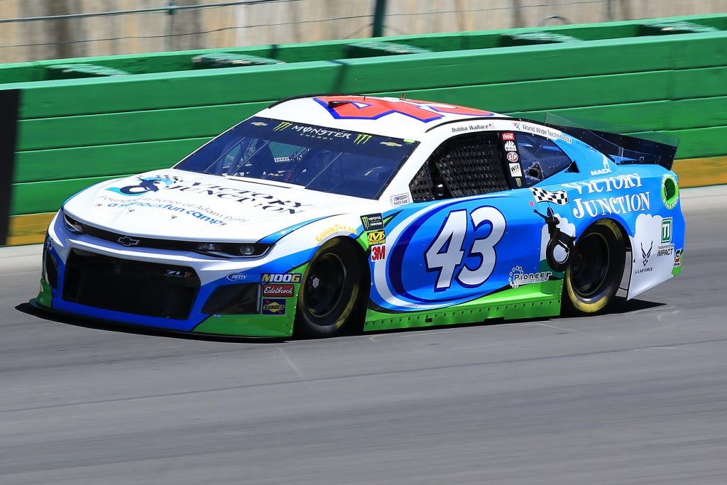 SPARTA, KENTUCKY - JULY 12: Bubba Wallace, driver of the #43 Victory Junction Chevrolet, practices for the Monster Energy NASCAR Cup Series Quaker State 400 Presented by Walmart at Kentucky Speedway on July 12, 2019 in Sparta, Kentucky. (Photo by Daniel Shirey/Getty Images)