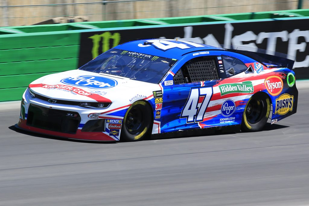 SPARTA, KENTUCKY - JULY 12: Ryan Preece, driver of the #47 Kroger Chevrolet, practices for the Monster Energy NASCAR Cup Series Quaker State 400 Presented by Walmart at Kentucky Speedway on July 12, 2019 in Sparta, Kentucky. (Photo by Daniel Shirey/Getty Images)
