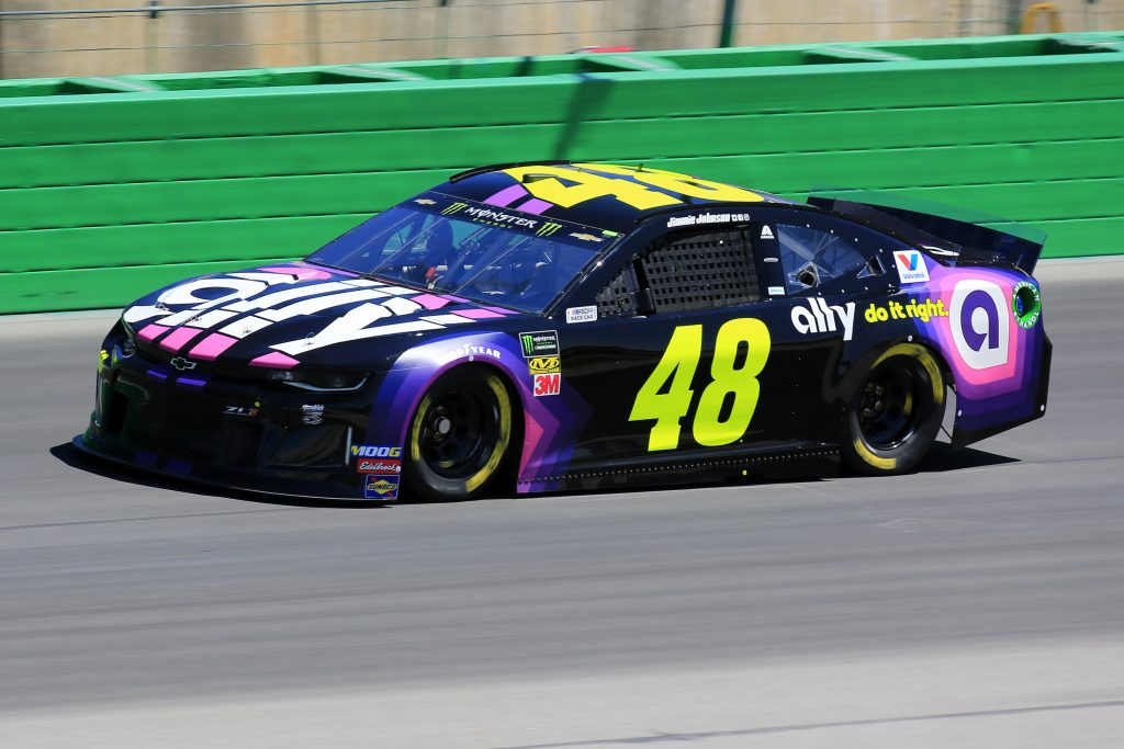 SPARTA, KENTUCKY - JULY 12: Jimmie Johnson, driver of the #48 Ally Chevrolet, practices for the Monster Energy NASCAR Cup Series Quaker State 400 Presented by Walmart at Kentucky Speedway on July 12, 2019 in Sparta, Kentucky. (Photo by Daniel Shirey/Getty Images)