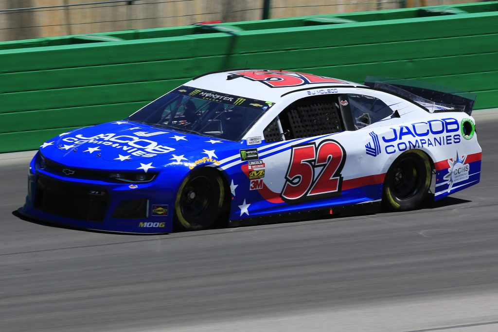 SPARTA, KENTUCKY - JULY 12: BJ McLeod, driver of the #52 Jacob Companies Chevrolet, practices for the Monster Energy NASCAR Cup Series Quaker State 400 Presented by Walmart at Kentucky Speedway on July 12, 2019 in Sparta, Kentucky. (Photo by Daniel Shirey/Getty Images)