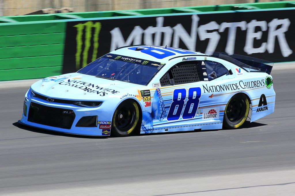 SPARTA, KENTUCKY - JULY 12: Alex Bowman, driver of the #88 Nationwide Children's Hospital Chevrolet, practices for the Monster Energy NASCAR Cup Series Quaker State 400 Presented by Walmart at Kentucky Speedway on July 12, 2019 in Sparta, Kentucky. (Photo by Daniel Shirey/Getty Images)