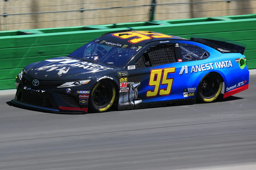 SPARTA, KENTUCKY - JULY 12: Matt DiBenedetto, driver of the #95 Anest Iwata Toyota, practices for the Monster Energy NASCAR Cup Series Quaker State 400 Presented by Walmart at Kentucky Speedway on July 12, 2019 in Sparta, Kentucky. (Photo by Daniel Shirey/Getty Images)
