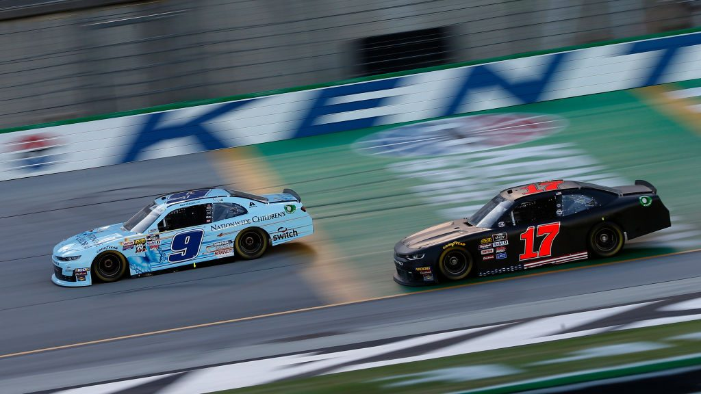 SPARTA, KENTUCKY - JULY 12: Noah Gragson, driver of the #9 Nationwide Children's Chevrolet, and Camden Murphy, driver of the #17 Chevrolet, race during the NASCAR Xfinity Series Alsco 300 at Kentucky Speedway on July 12, 2019 in Sparta, Kentucky. (Photo by Brian Lawdermilk/Getty Images) | Getty Images