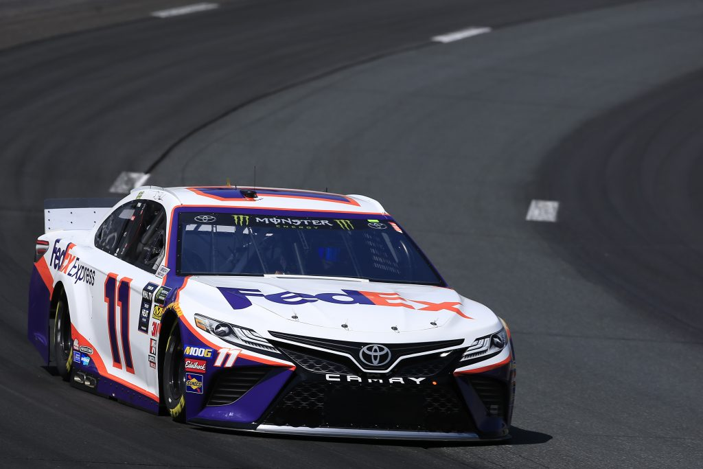 LOUDON, NEW HAMPSHIRE - JULY 19: Denny Hamlin, driver of the #11 FedEx Express Toyota, practices for the Monster Energy NASCAR Cup Series Foxwoods Resort Casino 301 at New Hampshire Motor Speedway on July 19, 2019 in Loudon, New Hampshire. (Photo by Chris Trotman/Getty Images) | Getty Images