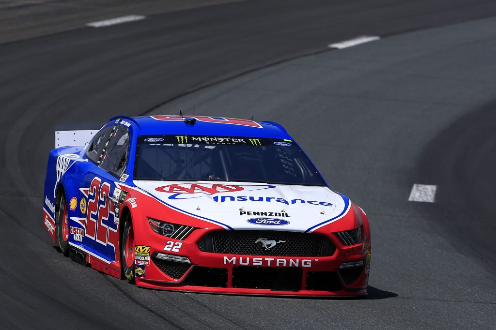 LOUDON, NEW HAMPSHIRE - JULY 19: Joey Logano, driver of the #22 AAA Insurance Ford, practices for the Monster Energy NASCAR Cup Series Foxwoods Resort Casino 301 at New Hampshire Motor Speedway on July 19, 2019 in Loudon, New Hampshire. (Photo by Chris Trotman/Getty Images) | Getty Images
