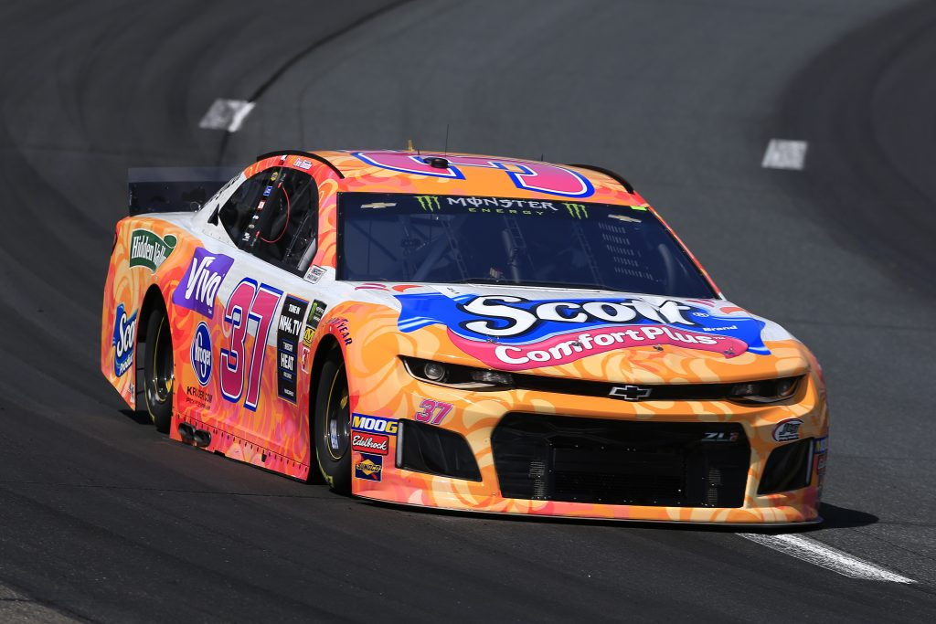 LOUDON, NEW HAMPSHIRE - JULY 19: Chris Buescher, driver of the #37 Scott Comfort Plus Chevrolet, practices for the Monster Energy NASCAR Cup Series Foxwoods Resort Casino 301 at New Hampshire Motor Speedway on July 19, 2019 in Loudon, New Hampshire. (Photo by Chris Trotman/Getty Images) | Getty Images
