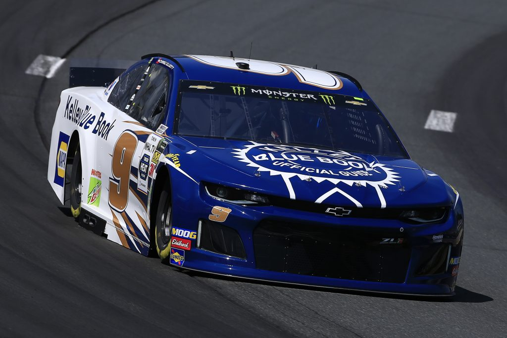 LOUDON, NEW HAMPSHIRE - JULY 19: Chase Elliott, driver of the #9 Kelley Blue Book Chevrolet, practices for the Monster Energy NASCAR Cup Series Foxwoods Resort Casino 301 at New Hampshire Motor Speedway on July 19, 2019 in Loudon, New Hampshire. (Photo by Chris Trotman/Getty Images) | Getty Images