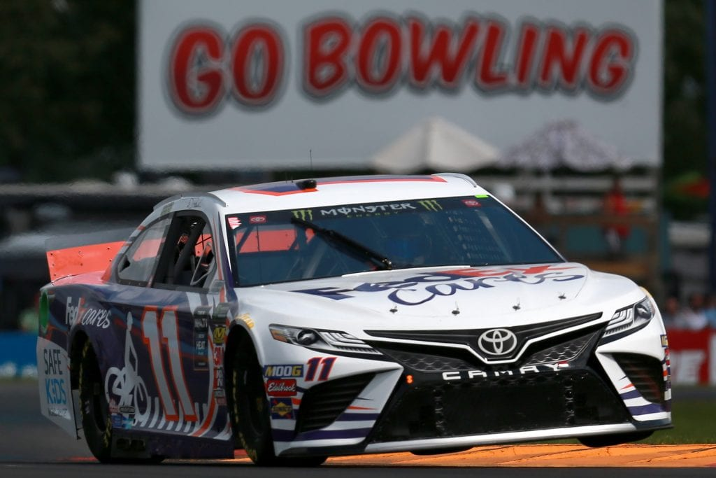 WATKINS GLEN, NEW YORK - AUGUST 03: Denny Hamlin, driver of the #11 FedEx Cares Toyota, practices for the Monster Energy NASCAR Cup Series Go Bowling at The Glen at Watkins Glen International on August 03, 2019 in Watkins Glen, New York. (Photo by Sean Gardner/Getty Images) | Getty Images