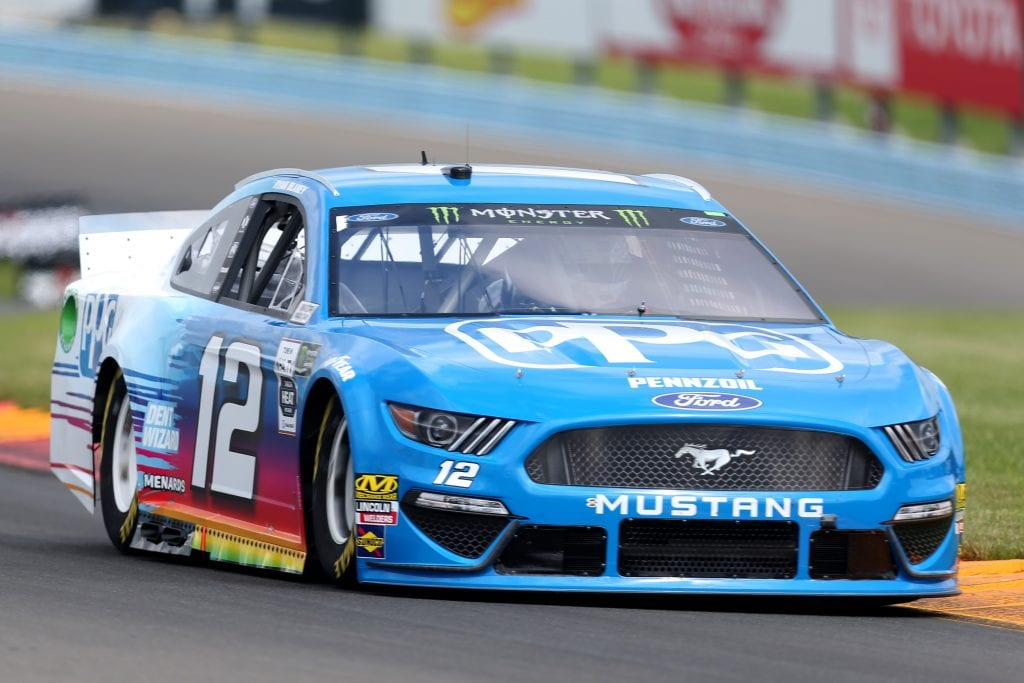WATKINS GLEN, NEW YORK - AUGUST 03: Ryan Blaney, driver of the #12 PPG Ford, drives during practice for the Monster Energy NASCAR Cup Series Go Bowling at The Glen at Watkins Glen International on August 03, 2019 in Watkins Glen, New York. (Photo by Matt Sullivan/Getty Images) | Getty Images