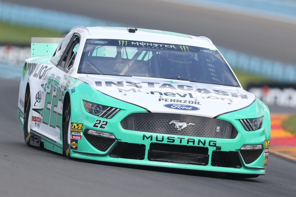 WATKINS GLEN, NEW YORK - AUGUST 03: Joey Logano, driver of the #22 MoneyLion Ford, drives during practice for the Monster Energy NASCAR Cup Series Go Bowling at The Glen at Watkins Glen International on August 03, 2019 in Watkins Glen, New York. (Photo by Matt Sullivan/Getty Images) | Getty Images