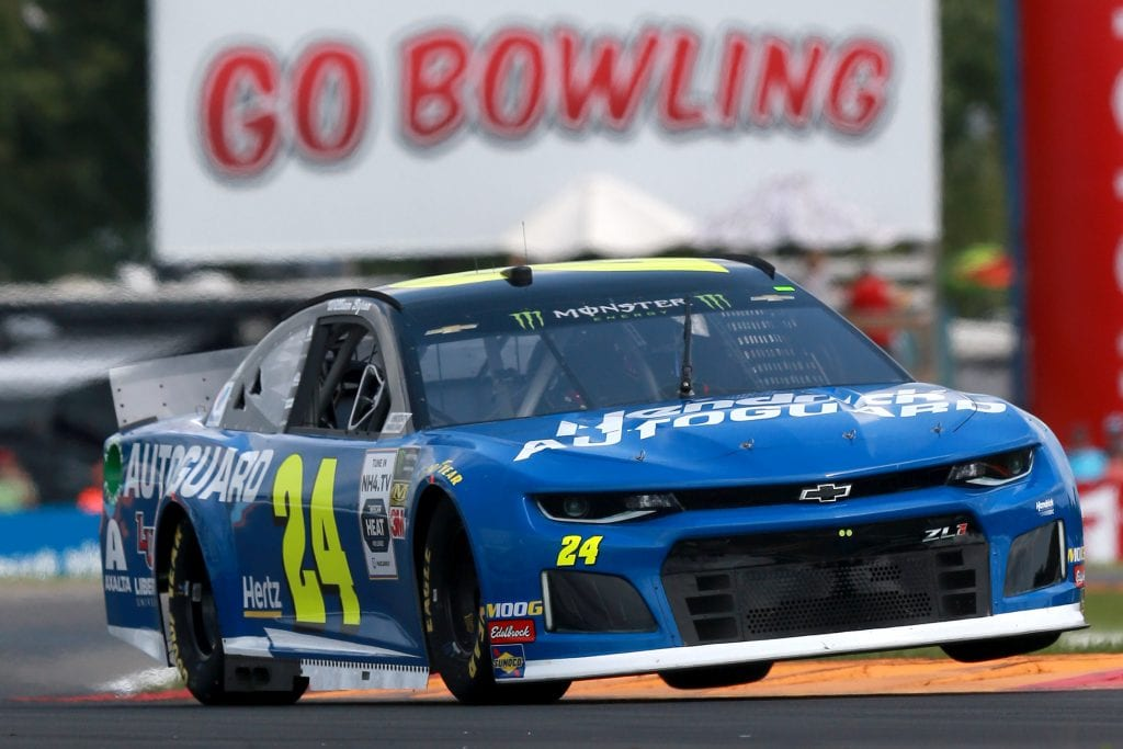 WATKINS GLEN, NEW YORK - AUGUST 03: William Byron, driver of the #24 Hendrick Autoguard Chevrolet, practices for the Monster Energy NASCAR Cup Series Go Bowling at The Glen at Watkins Glen International on August 03, 2019 in Watkins Glen, New York. (Photo by Sean Gardner/Getty Images) | Getty Images