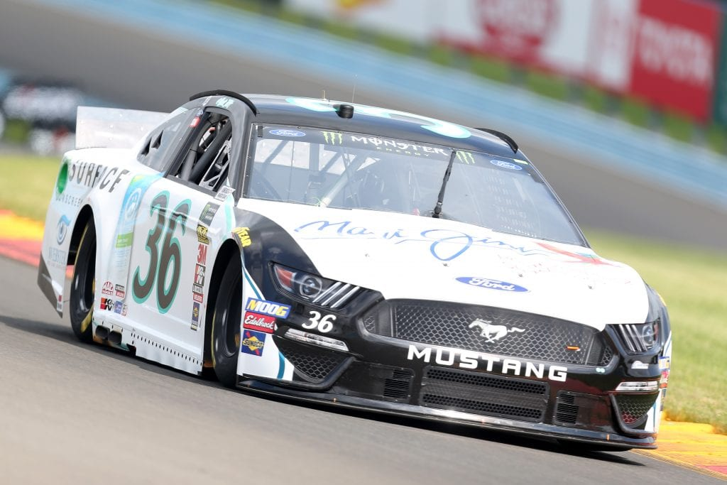 WATKINS GLEN, NEW YORK - AUGUST 03: Matt Tifft, driver of the #36 Maui Jim/Surface Sunscreen Ford, drives during practice for the Monster Energy NASCAR Cup Series Go Bowling at The Glen at Watkins Glen International on August 03, 2019 in Watkins Glen, New York. (Photo by Matt Sullivan/Getty Images) | Getty Images