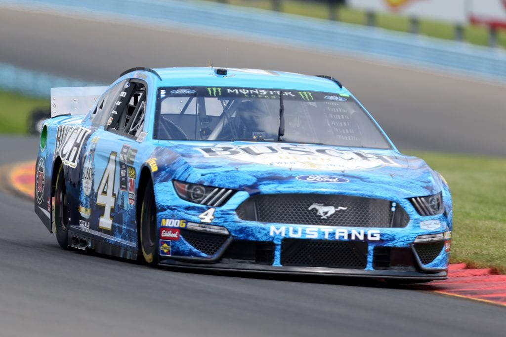 WATKINS GLEN, NEW YORK - AUGUST 03: Kevin Harvick, driver of the #4 Busch Beer Ford, drives during practice for the Monster Energy NASCAR Cup Series Go Bowling at The Glen at Watkins Glen International on August 03, 2019 in Watkins Glen, New York. (Photo by Matt Sullivan/Getty Images) | Getty Images