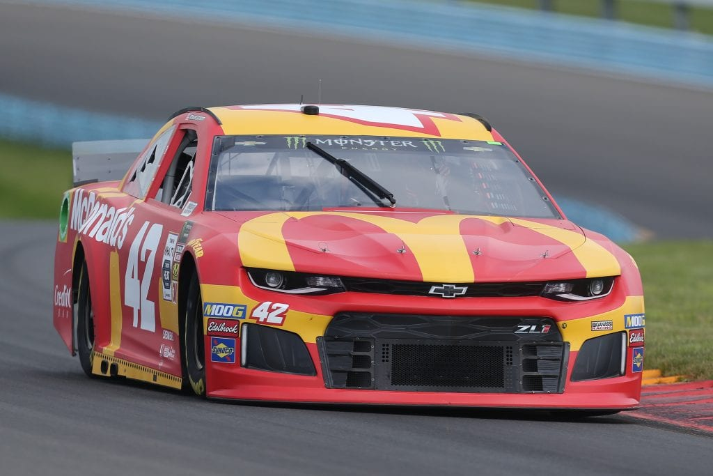 WATKINS GLEN, NEW YORK - AUGUST 03: Kyle Larson, driver of the #42 McDonald's Chevrolet, drives during practice for the Monster Energy NASCAR Cup Series Go Bowling at The Glen at Watkins Glen International on August 03, 2019 in Watkins Glen, New York. (Photo by Matt Sullivan/Getty Images) | Getty Images