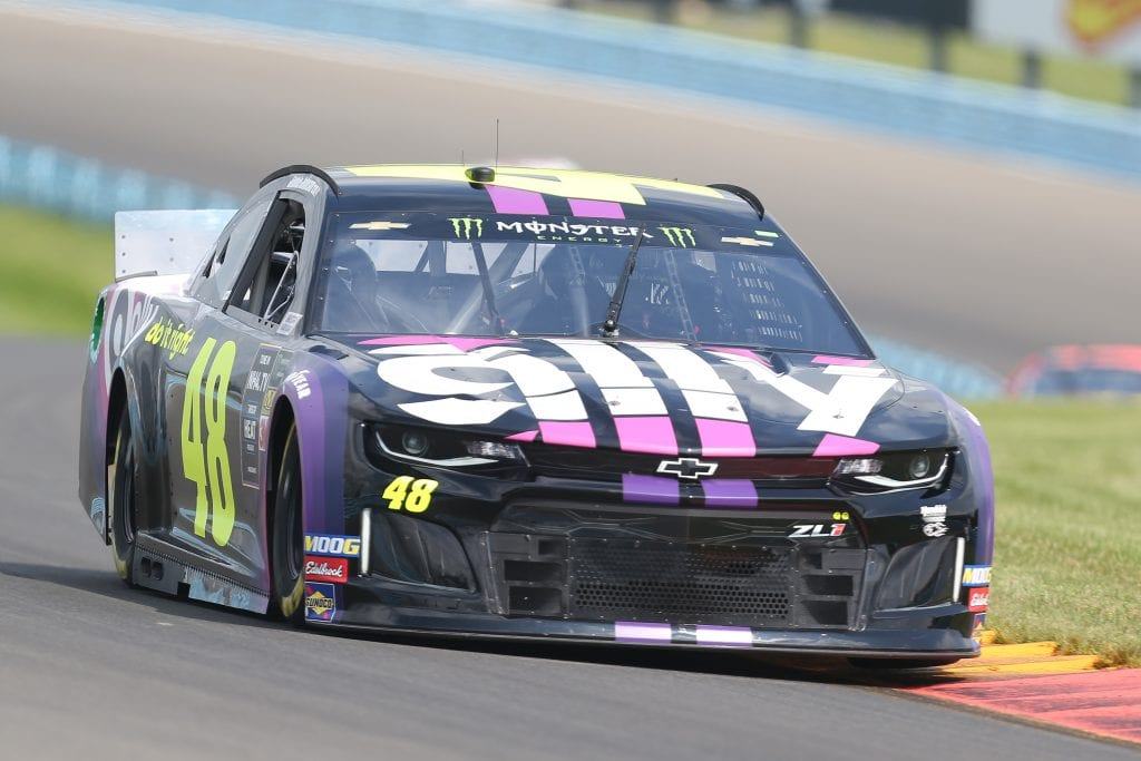 WATKINS GLEN, NEW YORK - AUGUST 03: Jimmie Johnson, driver of the #48 Ally Chevrolet, drives during practice for the Monster Energy NASCAR Cup Series Go Bowling at The Glen at Watkins Glen International on August 03, 2019 in Watkins Glen, New York. (Photo by Matt Sullivan/Getty Images) | Getty Images