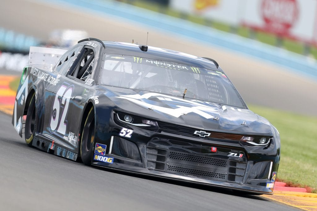 WATKINS GLEN, NEW YORK - AUGUST 03: Josh Bilicki, driver of the #52 Chevrolet, drives during practice for the Monster Energy NASCAR Cup Series Go Bowling at The Glen at Watkins Glen International on August 03, 2019 in Watkins Glen, New York. (Photo by Matt Sullivan/Getty Images) | Getty Images