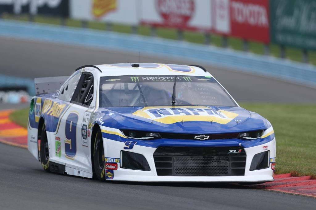 WATKINS GLEN, NEW YORK - AUGUST 03: Chase Elliott, driver of the #9 NAPA AUTO PARTS Chevrolet, drives during practice for the Monster Energy NASCAR Cup Series Go Bowling at The Glen at Watkins Glen International on August 03, 2019 in Watkins Glen, New York. (Photo by Matt Sullivan/Getty Images) | Getty Images
