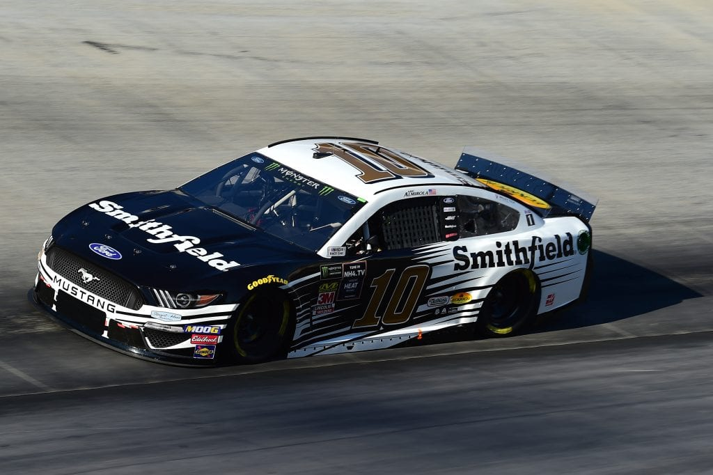 BRISTOL, TENNESSEE - AUGUST 16: Aric Almirola, driver of the #10 Smithfield Ford, qualifies for the Monster Energy NASCAR Cup Series Bass Pro Shops NRA Night Race at Bristol Motor Speedway on August 16, 2019 in Bristol, Tennessee. (Photo by Jared C. Tilton/Getty Images) | Getty Images