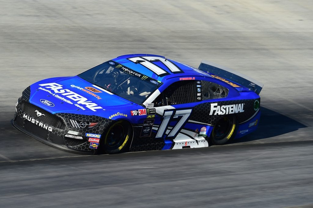 BRISTOL, TENNESSEE - AUGUST 16: Ricky Stenhouse Jr., driver of the #17 Fastenal Ford, qualifies for the Monster Energy NASCAR Cup Series Bass Pro Shops NRA Night Race at Bristol Motor Speedway on August 16, 2019 in Bristol, Tennessee. (Photo by Jared C. Tilton/Getty Images) | Getty Images