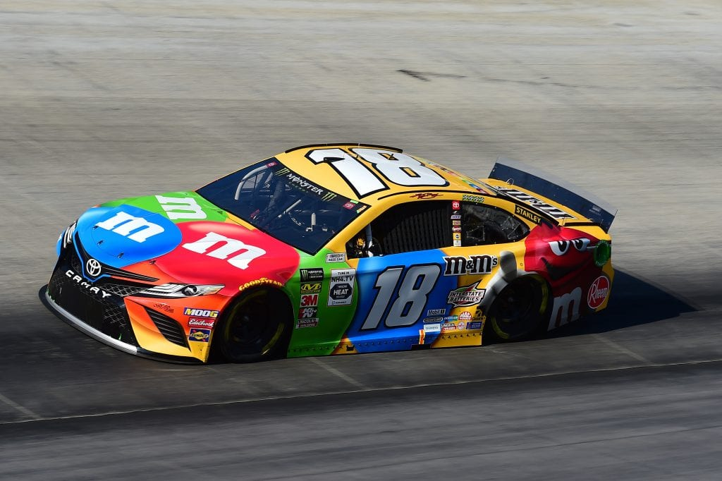 BRISTOL, TENNESSEE - AUGUST 16: Kyle Busch, driver of the #18 M&M's Toyota, qualifies for the Monster Energy NASCAR Cup Series Bass Pro Shops NRA Night Race at Bristol Motor Speedway on August 16, 2019 in Bristol, Tennessee. (Photo by Jared C. Tilton/Getty Images) | Getty Images