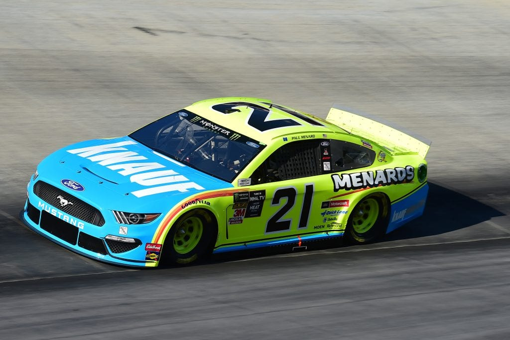 BRISTOL, TENNESSEE - AUGUST 16: Paul Menard, driver of the #21 Menards/Knauf Ford, qualifies for the Monster Energy NASCAR Cup Series Bass Pro Shops NRA Night Race at Bristol Motor Speedway on August 16, 2019 in Bristol, Tennessee. (Photo by Jared C. Tilton/Getty Images) | Getty Images