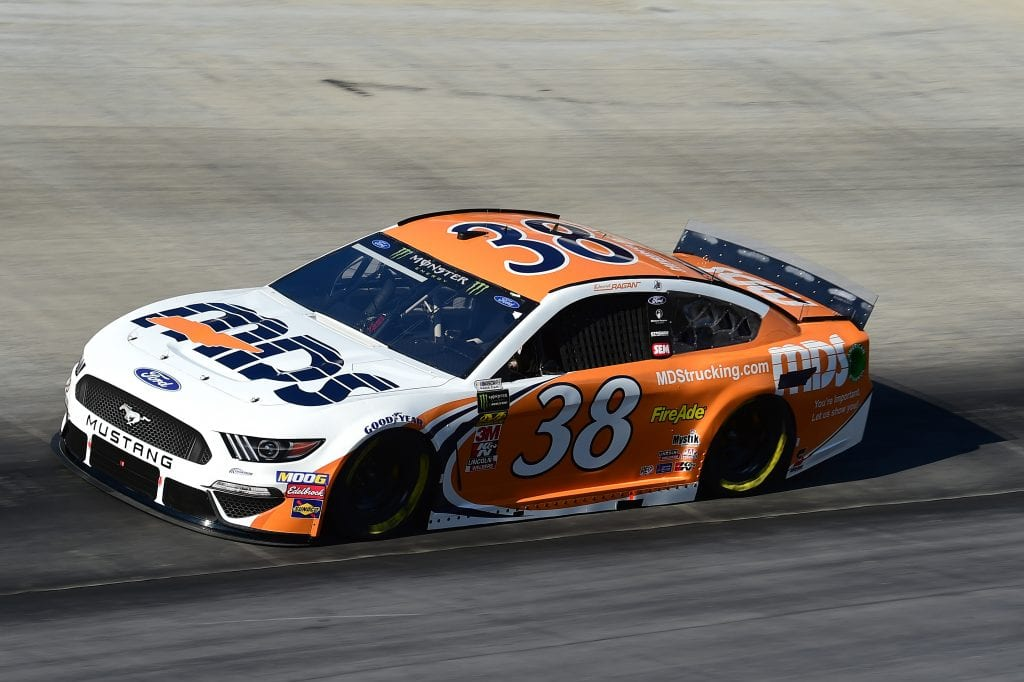 BRISTOL, TENNESSEE - AUGUST 16: David Ragan, driver of the #38 MDS Ford, qualifies for the Monster Energy NASCAR Cup Series Bass Pro Shops NRA Night Race at Bristol Motor Speedway on August 16, 2019 in Bristol, Tennessee. (Photo by Jared C. Tilton/Getty Images) | Getty Images