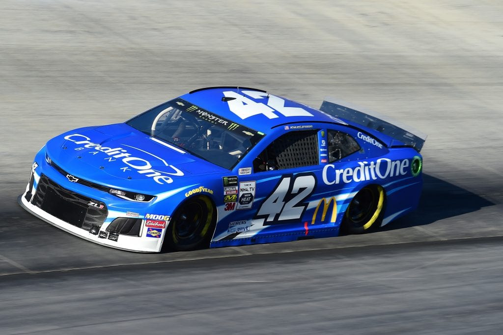BRISTOL, TENNESSEE - AUGUST 16: Kyle Larson, driver of the #42 Credit One Bank Chevrolet, qualifies for the Monster Energy NASCAR Cup Series Bass Pro Shops NRA Night Race at Bristol Motor Speedway on August 16, 2019 in Bristol, Tennessee. (Photo by Jared C. Tilton/Getty Images) | Getty Images