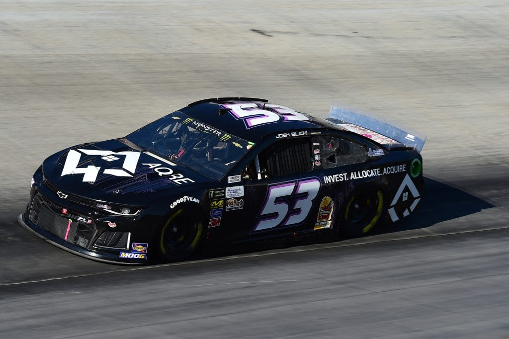 BRISTOL, TENNESSEE - AUGUST 16: Josh Bilicki, driver of the #53 AQRE Chevrolet, qualifies for the Monster Energy NASCAR Cup Series Bass Pro Shops NRA Night Race at Bristol Motor Speedway on August 16, 2019 in Bristol, Tennessee. (Photo by Jared C. Tilton/Getty Images)   Getty Images