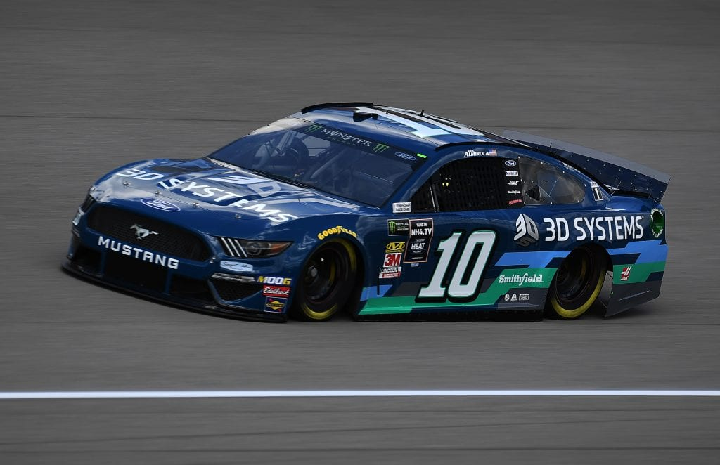 BROOKLYN, MICHIGAN - AUGUST 09: Aric Almirola, driver of the #10 3D Systems Ford, drives during practice for the Monster Energy NASCAR Cup Series Consumers Energy 400 at Michigan International Speedway on August 09, 2019 in Brooklyn, Michigan. (Photo by Stacy Revere/Getty Images) | Getty Images