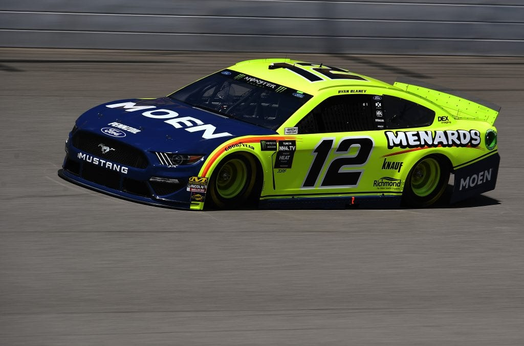 BROOKLYN, MICHIGAN - AUGUST 09: Ryan Blaney, driver of the #12 Menards/Moen ForRyan Blaney, driver of the #12 Menards/Moen Ford, 2drives during practice for the Monster Energy NASCAR Cup Series Consumers Energy 400 at Michigan International Speedway on August 09, 2019 in Brooklyn, Michigan. (Photo by Stacy Revere/Getty Images) | Getty Images