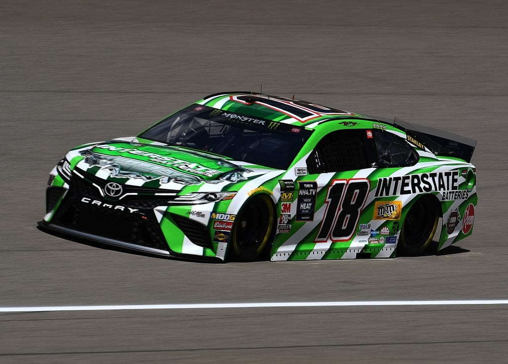 BROOKLYN, MICHIGAN - AUGUST 09: Kyle Busch, driver of the #18 Interstate Batteries Toyota, drives during practice for the Monster Energy NASCAR Cup Series Consumers Energy 400 at Michigan International Speedway on August 09, 2019 in Brooklyn, Michigan. (Photo by Stacy Revere/Getty Images) | Getty Images