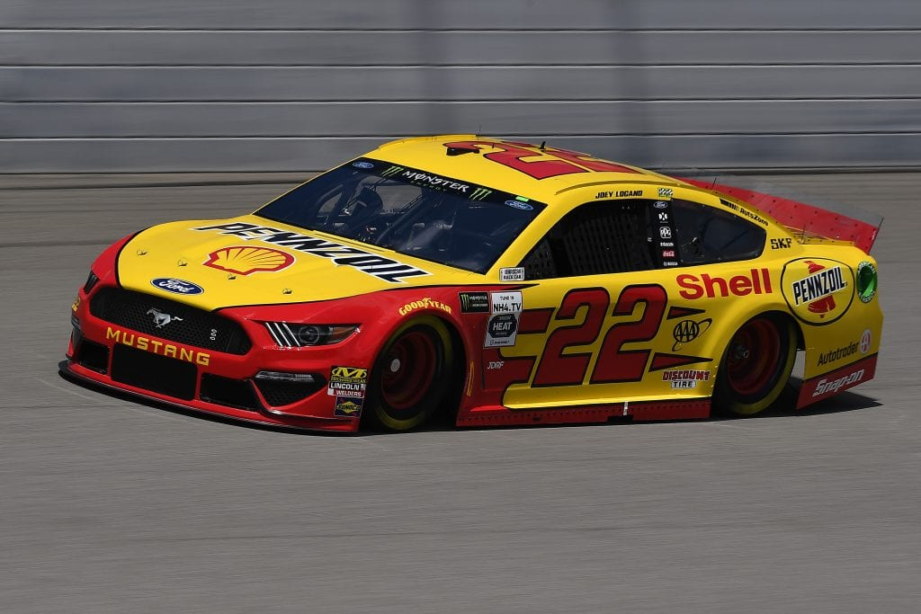 BROOKLYN, MICHIGAN - AUGUST 09: Joey Logano, driver of the #22 Shell Pennzoil Ford, drives during practice for the Monster Energy NASCAR Cup Series Consumers Energy 400 at Michigan International Speedway on August 09, 2019 in Brooklyn, Michigan. (Photo by Stacy Revere/Getty Images) | Getty Images